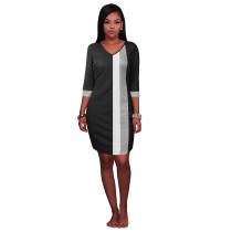Block Colors V-Neck Straight Dress with 1/2 Sleeves 26998-1