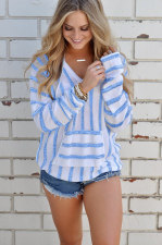 V-Neck Stripped Pullover Sweaters 27068-2
