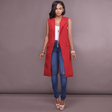 Solid Color Sleeveless Long Blazer with Pockets 26775-2