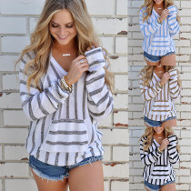 V-Neck Stripped Pullover Sweaters 27068-3