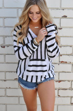 V-Neck Stripped Pullover Sweaters 27068-1