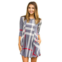 Check Pattern A-Line Shirt Dress with 1/2 Sleeves 26995-2