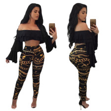 Gold and Black Chains Print Leggings 26797