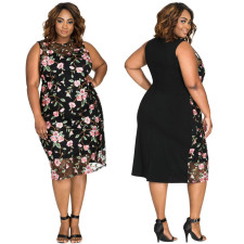 Plus Size Floral Black Dress