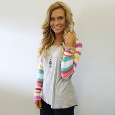 Patchwork O-Neck Shirt with Long Sleeves