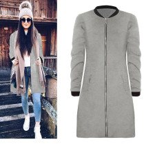 Zipped Blank Long Jacket 27503-2