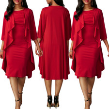Occassional Red Dress with Dripped Overlay Sides 27905