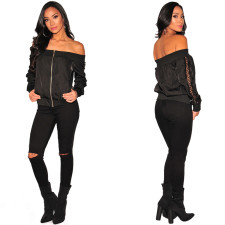 Off Shoulder Black Zipped Jacket with Lace-Up Sleeves 27882
