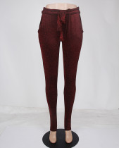 Solid Color Pleated High Waist Pants with Ties 27790-3