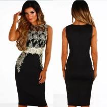 Applique Black Cocktail Dress 27726