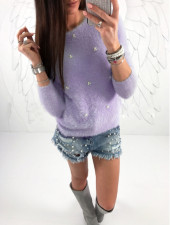 Round Neck Pullover Plush Tops 28147-4