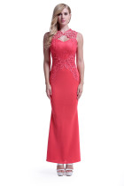 Red Lace Long Evening Dress 28185-2