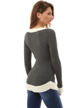 Block Color V-Neck Sweater Tops 28121-2