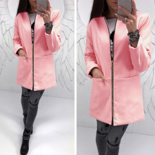 Zipped Up Solid Long Jacket 28068-3