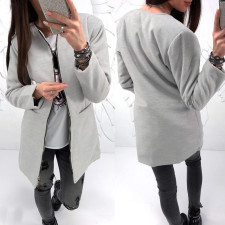Zipped Up Solid Long Jacket 28068-2