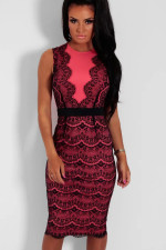 Red and Black Lace Occassional Dress QW_3071