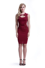 Applique Red Lace Formal Dress 28453