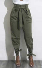 High Waist Plain Trousers with Bows 28507-1