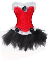 Santa Party Red Corset and Black Tutu Skirt