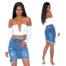 Blue Denim Damaged Skirt