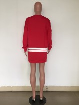 White and Red Letter Shirt Dress