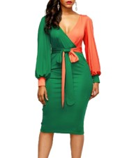 Block Color Sexy Wrapped Dress