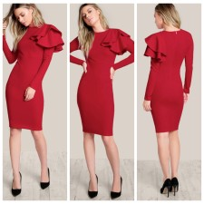 Red Slim Dress with Ruffle Details