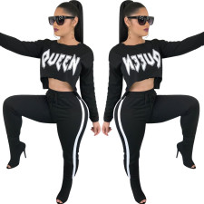 White and Black Letter Crop Sportswear