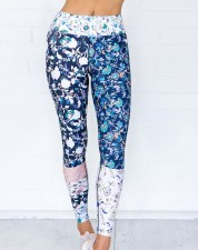 White and Blue Floral Fitness Yoga Pants