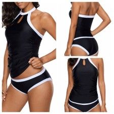 Black Swimming Top and Bottom with White Trim