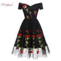 Romantic Rose Flower Black Party Dress