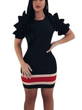 Block Color Bodycon Dress with Ruffle Sleeves