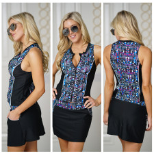 Print Black Sports Tank Top and Mini Skirts