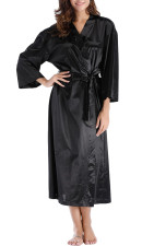 Black Silk Long Pyjama