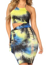 Multi-Color Sexy Halter Top and Skirts
