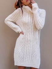 Turndown Collar Sweater Dress with Side Splits