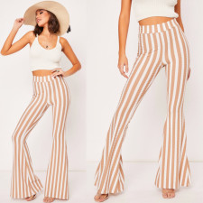 Wide Strippes Casual Pants with Wide Legges