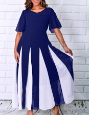 Block Color Long Dress with Short Sleeves