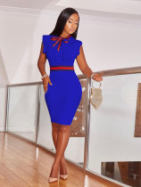 Elegant Ruffles Office Dress with Tie