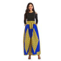 Long Sleeve Black Top and African Print Maxi Skirt