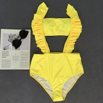Swimming Bandaeu Top and Ruffle Straps Bottom