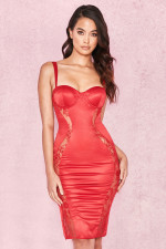 Sexy Red Straps PU Party Dress