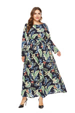 Plus Size Long Sleeve Floral Maxi Dress