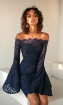 Off Shoulder Lace Party Dress with Wide Cuffs