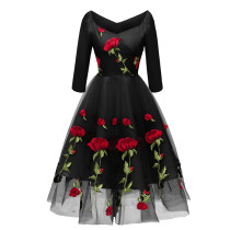 Black Embroidery A-line Prom Dress
