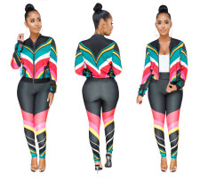 Block Color Sports Jacket and Pants Set