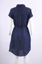 Botton Up Denim Dress with Drawstrings Waist