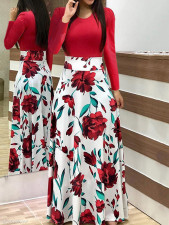 Long Sleeve Flower Maxi Dress