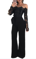 Lace Upper Sexy Chic Jumpsuit met off-shoulder