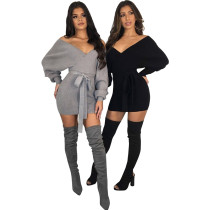 Sexy Bat Sleeving Wrapped Sweater Dress